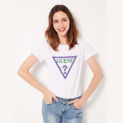 GUESS-女裝-撞色經典倒三角logo短T-白