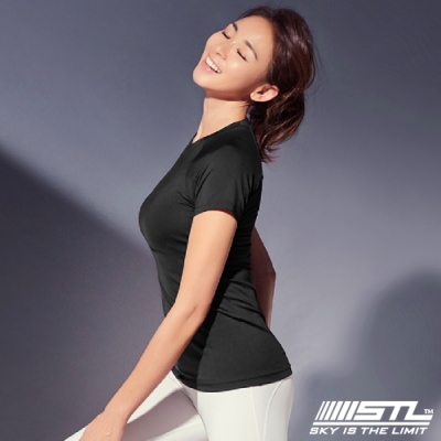 STL YOGA Holiday Flow SS 韓國 女 快速排汗 運動機能短袖上衣 路跑/瑜珈/重訓/登山 假期黑
