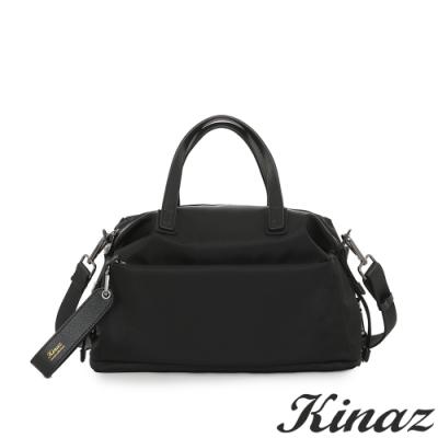 KINAZ casual 輕量防潑水斜背手提包-極致深黑-輕甜漫遊系列