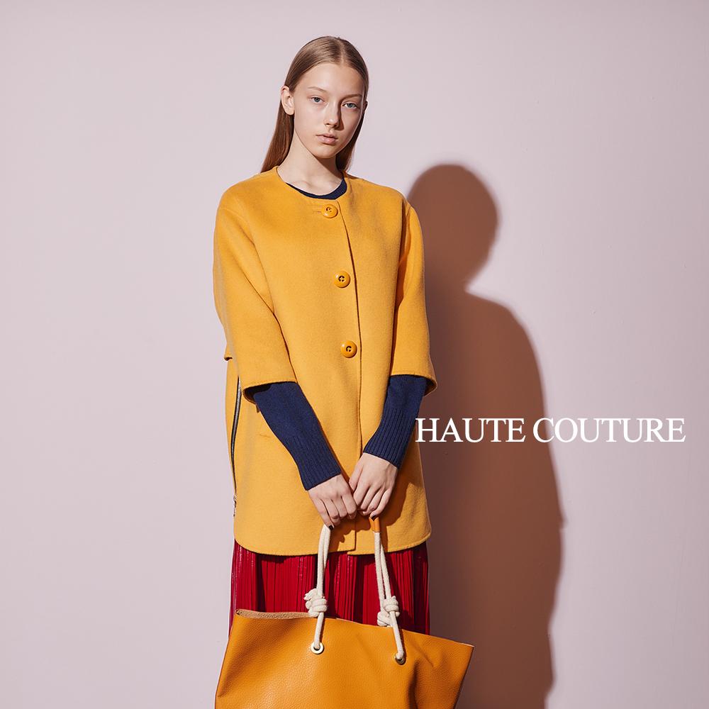 Haute Couture 高定系 Cashmere喀什米爾羊毛斗篷外套-黃