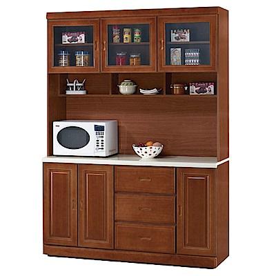 綠活居 莎曼珊4.9尺石面餐櫃/收納櫃組合(上+下)-145.5x48x203cm-免組