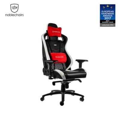 noblechairs EPIC 真皮系列電競賽車椅- 黑底白車線
