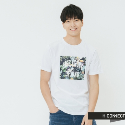 H:CONNECT 韓國品牌 男裝-夏日圖印圓領T-shirt-白