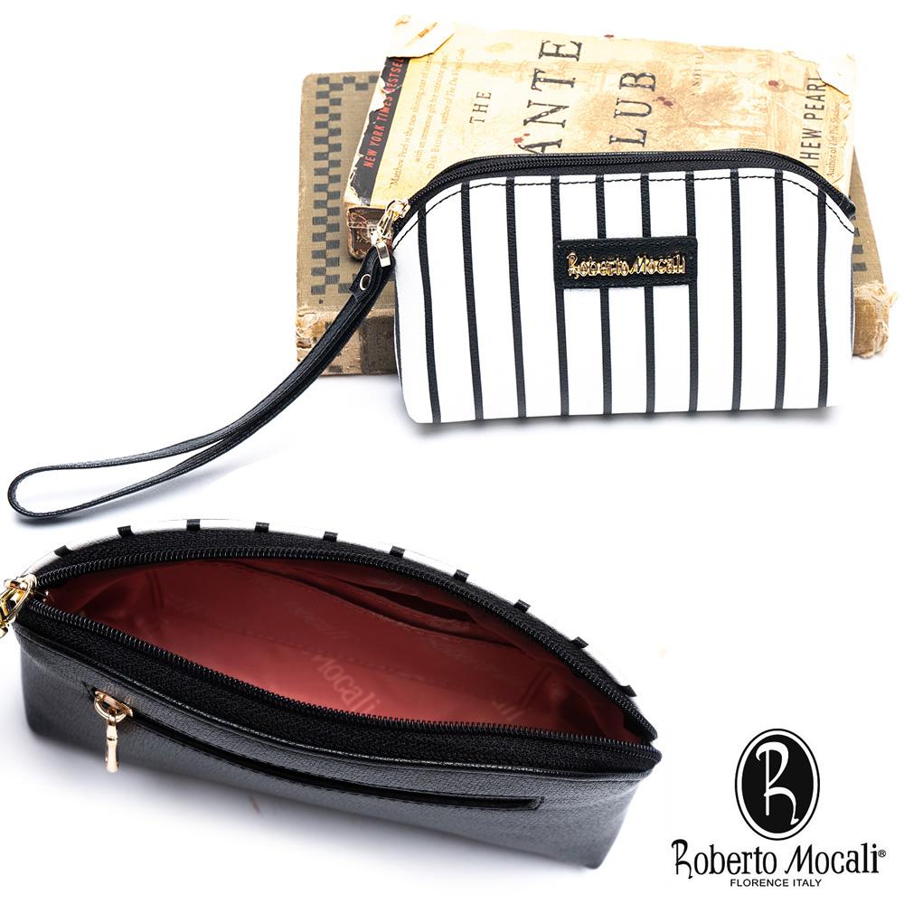 Roberto Mocali - 義大利諾貝經典黑白條紋2卡鑰匙圈手拿包