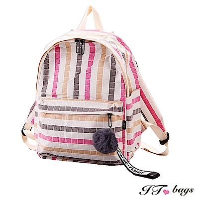 It Bags  日系多彩條紋帆布毛球後背包 共四色
