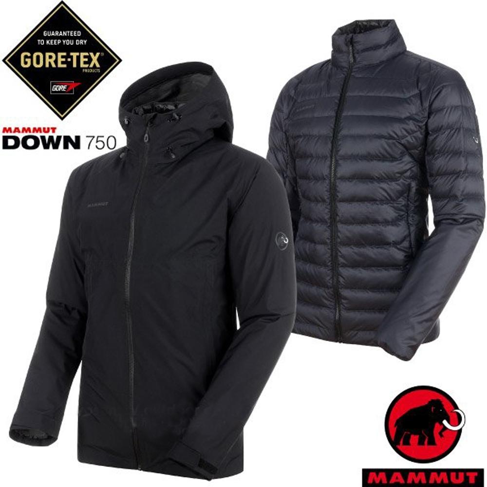 長毛象 兩件式連帽頂級防水透氣耐磨風雨衣+750FP羽絨外套_黑