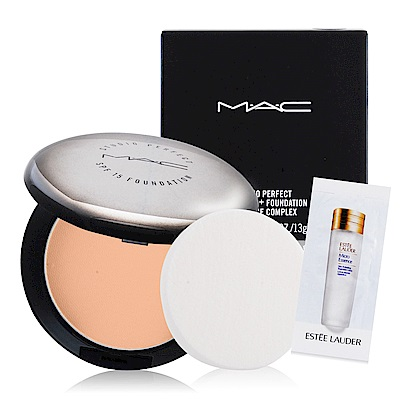 M.A.C 超持妝無瑕粉餅13g多色可選 含盒+精華液試用包(隨機)X1