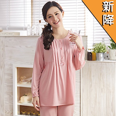 華歌爾睡衣-EKS保暖紗M-L圓領長袖睡衣褲裝(粉)