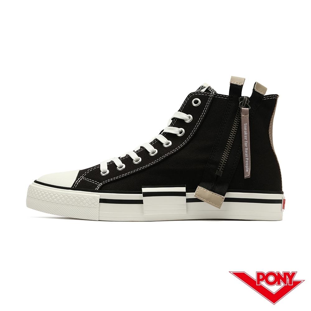 【PONY】Shooter系列 高筒 拉鍊帆布鞋 休閒鞋 男鞋-黑