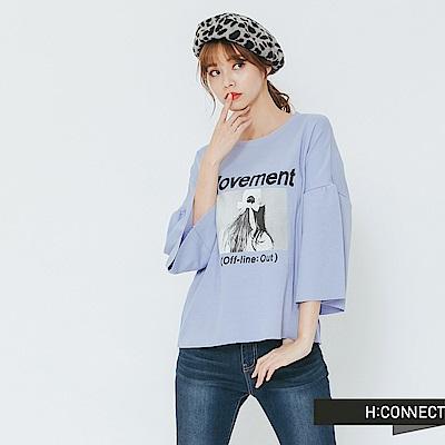 H:CONNECT 韓國品牌 女裝-復古圖像寬袖上衣-紫