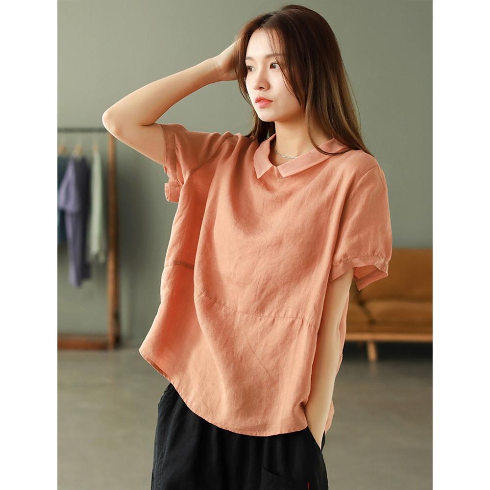 歐根紗彼得潘領襯苧麻T恤五色可選-設計所在