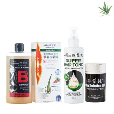 A+維髮健 日間增髮夜間養髮 強化清潔組 (鋸棕櫚洗髮精+養髮液+增髮纖維25g)