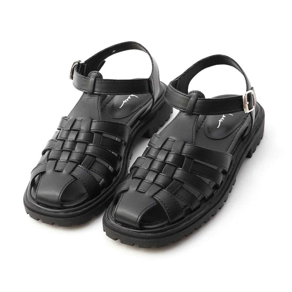 D+AF 搭配法則.加厚底編織羅馬涼鞋*黑
