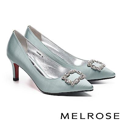 高跟鞋 MELROSE 高雅奢華璀璨晶鑽方釦緞布尖頭高跟鞋-綠