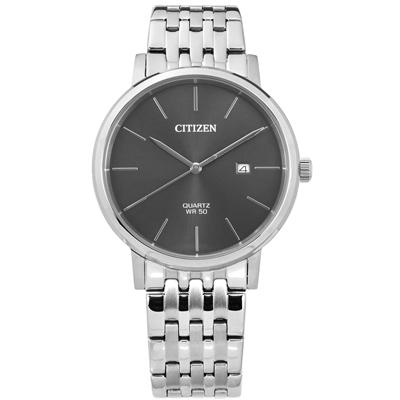 CITIZEN 極簡風範礦石強化玻璃日期日本機芯不鏽鋼手錶-灰色/41mm