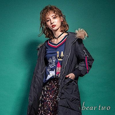 beartwo 經典LOGO大V領印花錯位T恤(二色)
