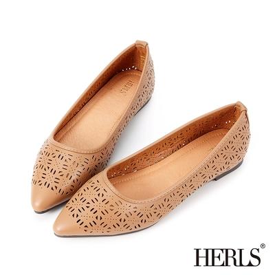 HERLS平底鞋 氣質優雅花窗鏤空尖頭平底鞋 深奶茶色