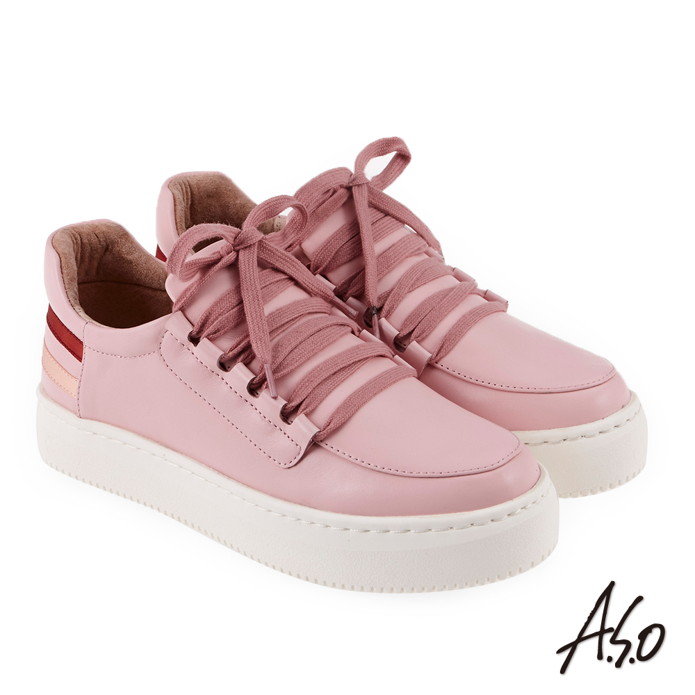 A.S.O 輕漾活力 牛皮綁帶舒適休閒鞋 粉