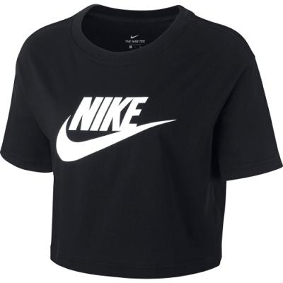 Nike NSW TEE ESSNTL CRP ICN FT 女短袖上衣 短版-黑-BV6176010