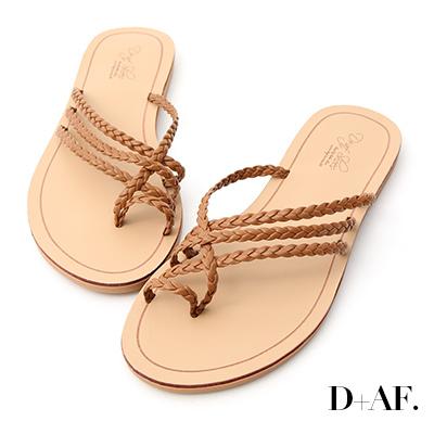 D+AF 涼感夏氛.麻辮編織套指平底拖鞋*棕