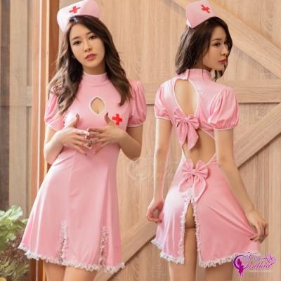 Sexy Cynthia 角色扮演 粉紅牛奶絲後背鏤空蕾絲滾邊連身裙三件式護士角色服-粉F