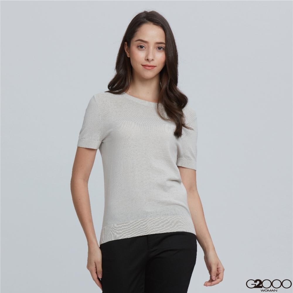 G2000素面短袖針織衫-灰色