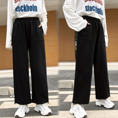 【韓國K.W.】(預購)優雅女伶口袋休閒寬褲-2色