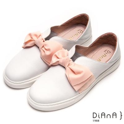 DIANA甜美大蝴蝶結V字鞋口輕量休閒鞋-漫步雲端厚切輕盈美人-粉x白