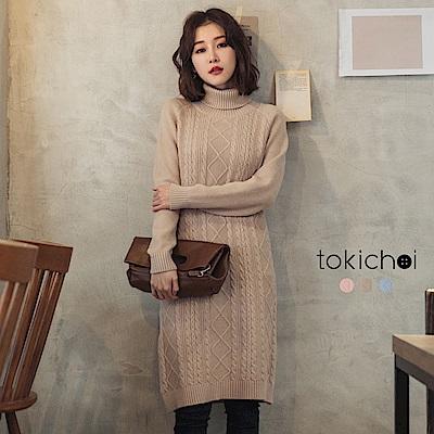 東京著衣 溫柔舒適多色羅紋編織高領長毛衣洋裝(共三色)