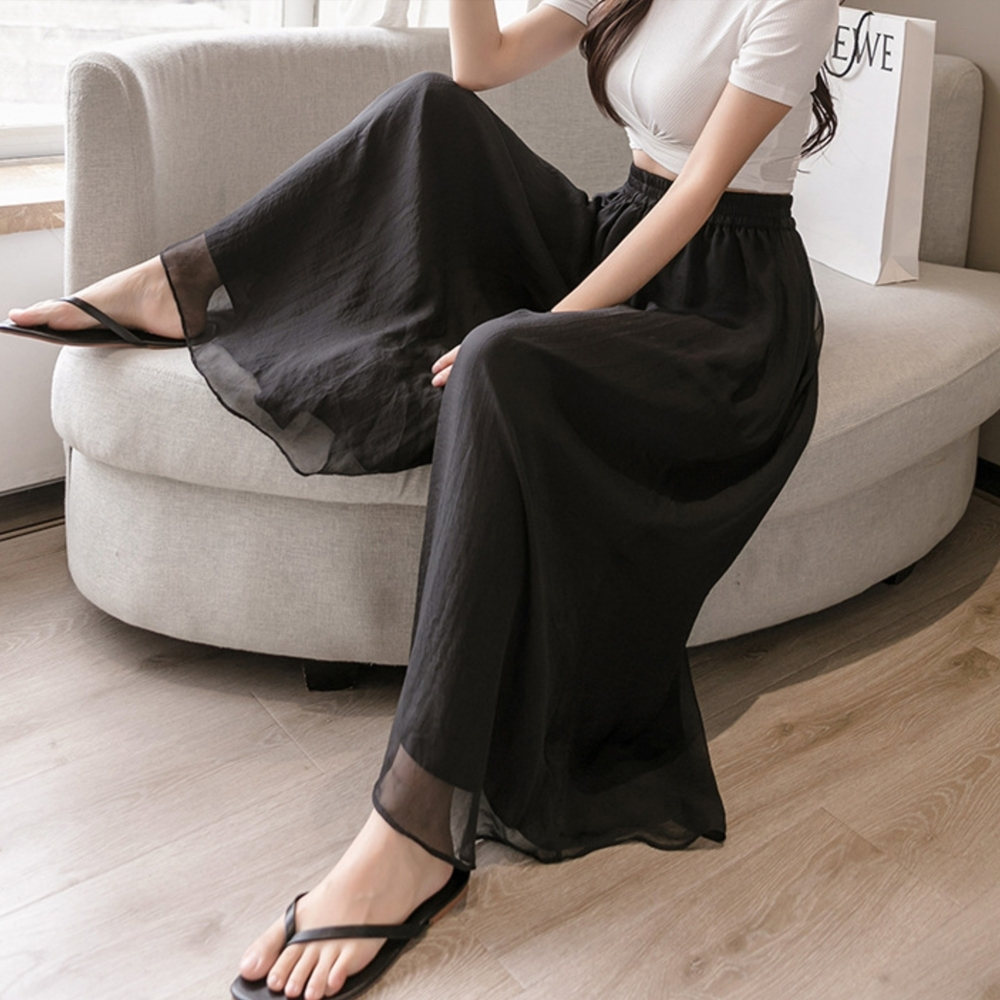 【LANNI 藍尼】現貨 舒適顯瘦假兩件雪紡鬆緊褲裙(褲裙/雪紡) product image 1