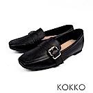 KOKKO-品味梨泰院方頭柔軟彎折樂福鞋-夜色黑