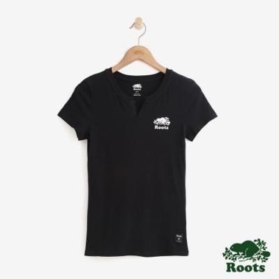 女裝Roots- 開領短袖T恤-黑