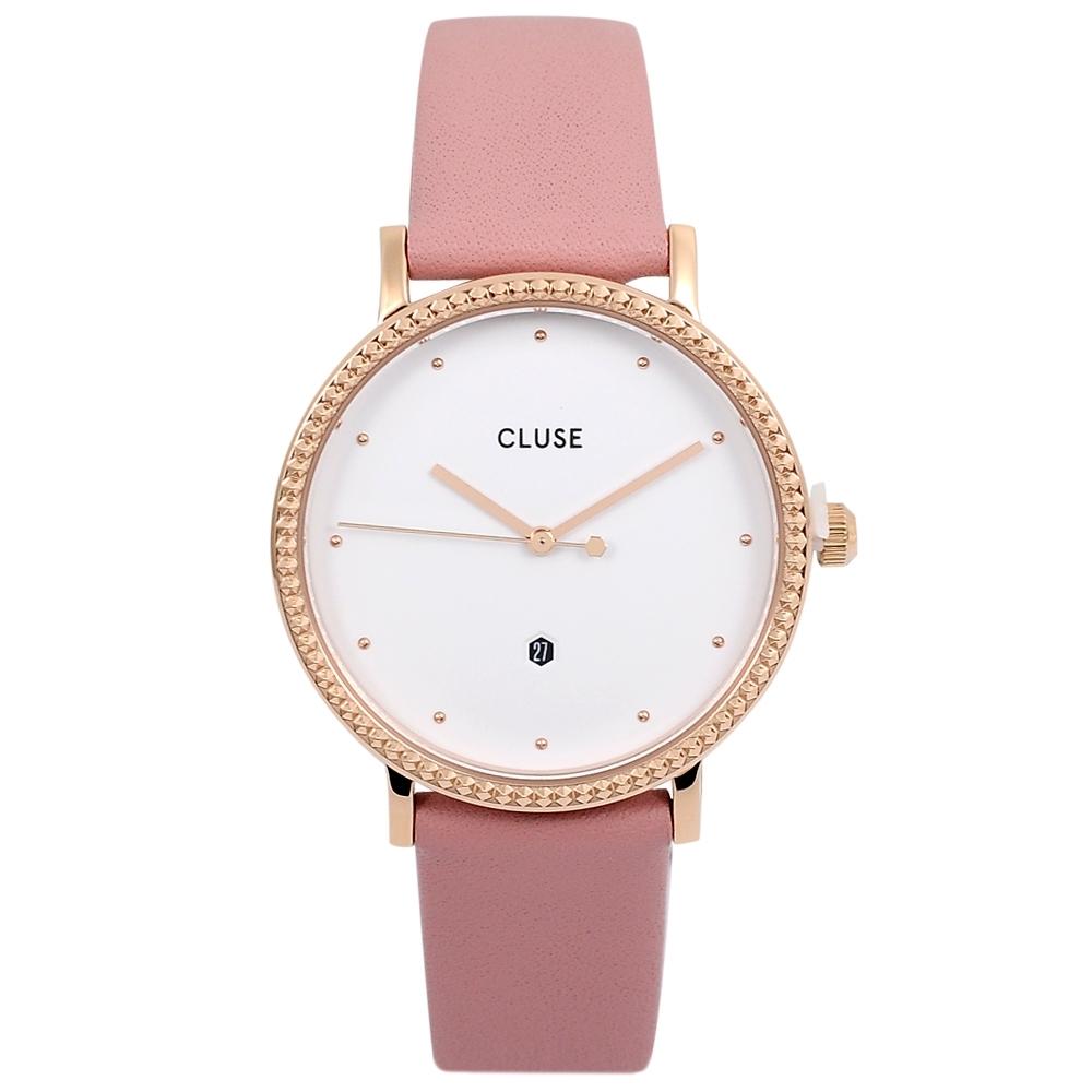 CLUSE荷蘭精品手錶 Le Couronnement系列 白錶盤/玫瑰粉皮革錶帶33mm