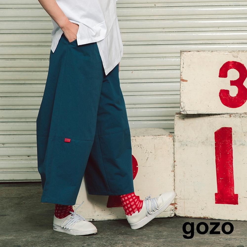 gozo-彈性拉繩素色寬褲-(兩色)