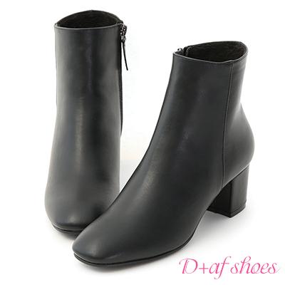 D+AF 簡約魅力.素面剪裁方頭中跟短靴*黑