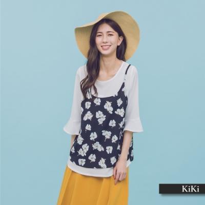 【KiKi】浪漫小碎花假兩件式-上衣(二色)