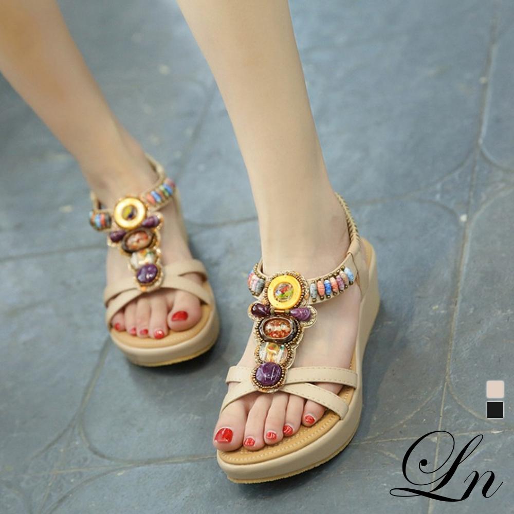 LN 印度風情串珠坡跟涼鞋-2色