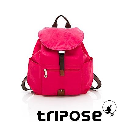 tripose MEMENTO系列微皺尼龍經典輕量後背包(小) 俏桃紅