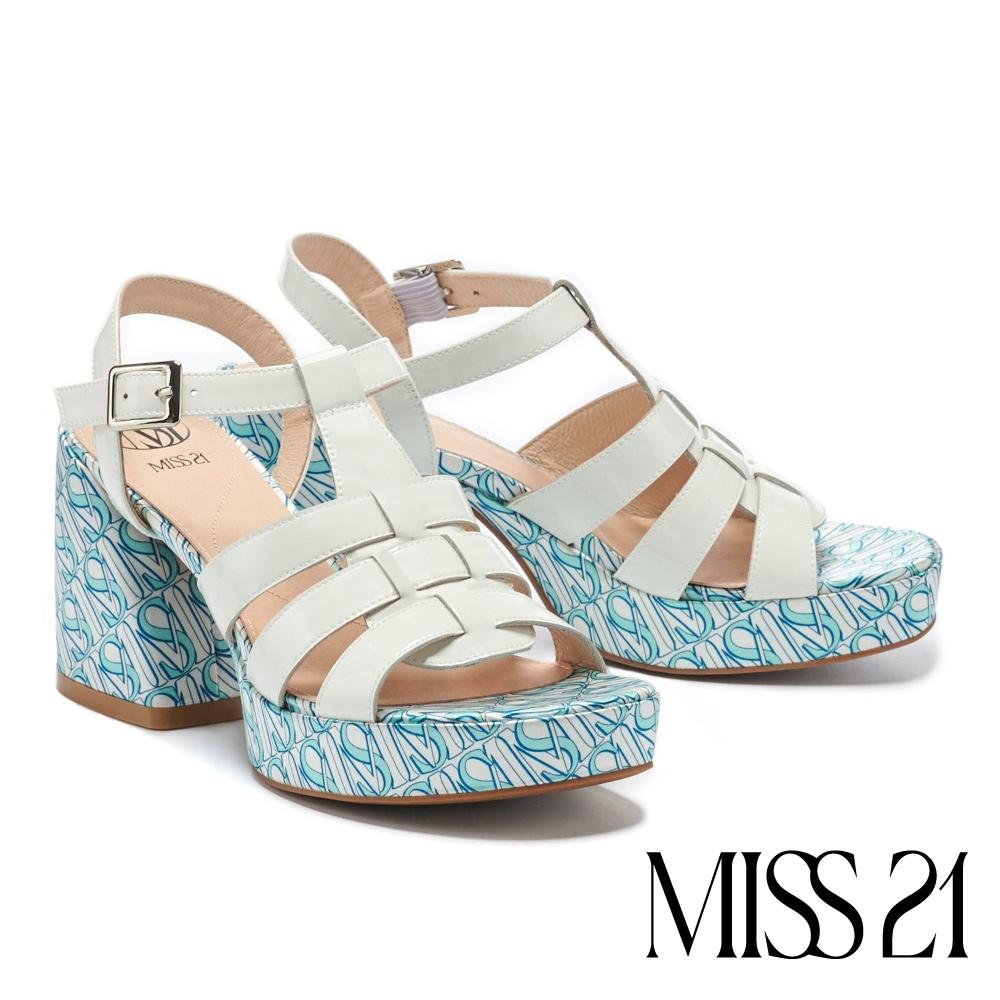 涼鞋 MISS 21 潮感90系少女寬版編織復古方頭粗高跟涼鞋-白