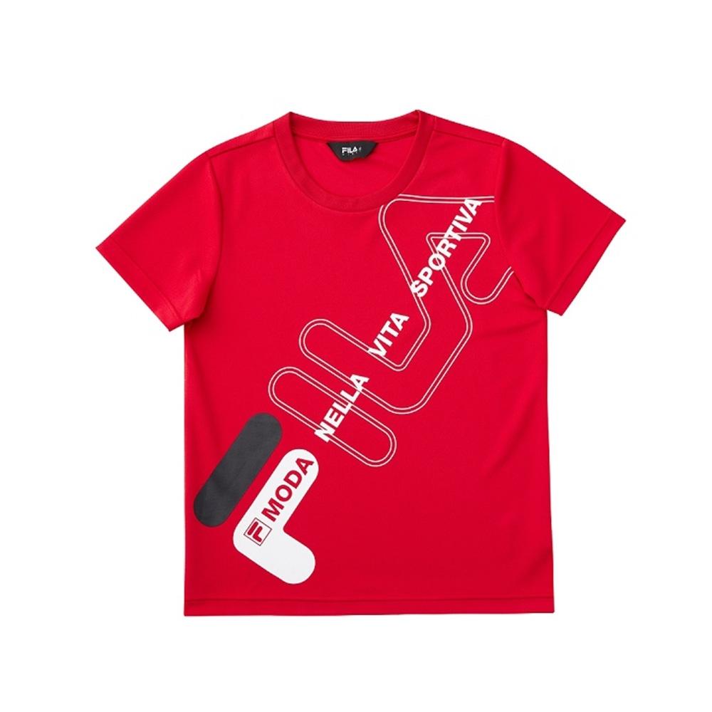 FILA KIDS 童吸濕排汗短袖上衣-紅 1TEV-4906-RD