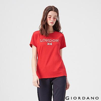 GIORDANO 女裝UNION JACK系列短袖T恤-09 高貴紅