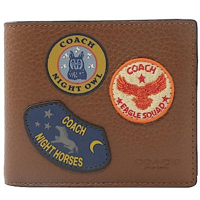 COACH 徽章LOGO牛皮八卡短夾(咖)