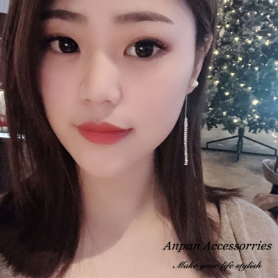 【ANPAN愛扮】韓東大門前後扣兩戴珍珠閃鑽垂墜925銀針耳釘式耳環