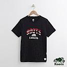Roots 男裝-條紋字標短袖T恤-黑色