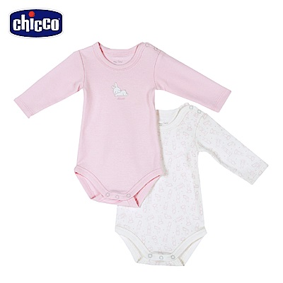 chicco-糖果兔系列-長袖連身衣二入-粉(3-24個月)