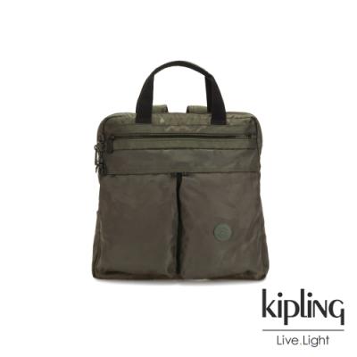 Kipling 迷彩緞灰前側雙拉鍊手提後背兩用包-KOMORI S