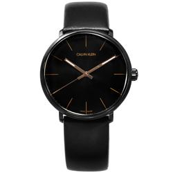 CK 礦石強化玻璃 瑞士製造 皮革手錶-黑x玫瑰金框/40mm
