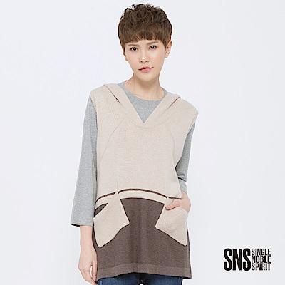 SNS 女子學院配色口袋連帽針織背心(2色)