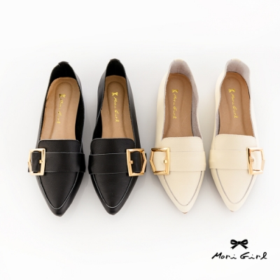 Mori girl韓系大金釦柔軟真皮平底休閒鞋 黑白二色