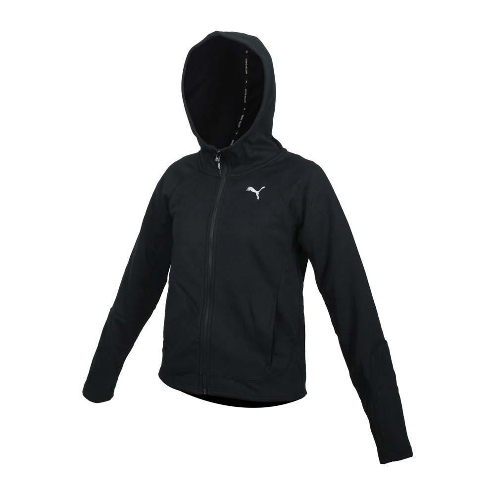 PUMA 女基本系列內刷毛連帽外套-歐規 保暖 吸濕排汗 慢跑 路跑 58389001 黑銀